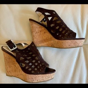 Calvin Klein Brown Suede Wedge Size 7M